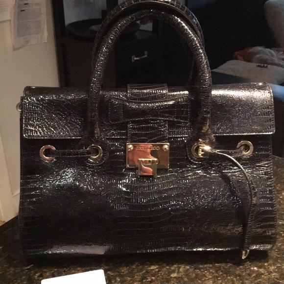 be5c0a4723af Jimmy Choo Handbags - Jimmy Choo Rosalie Patent Lizard Embossed Satchel